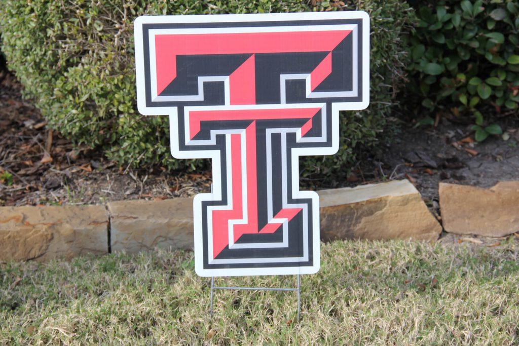 yard sign of Texas Tech TT