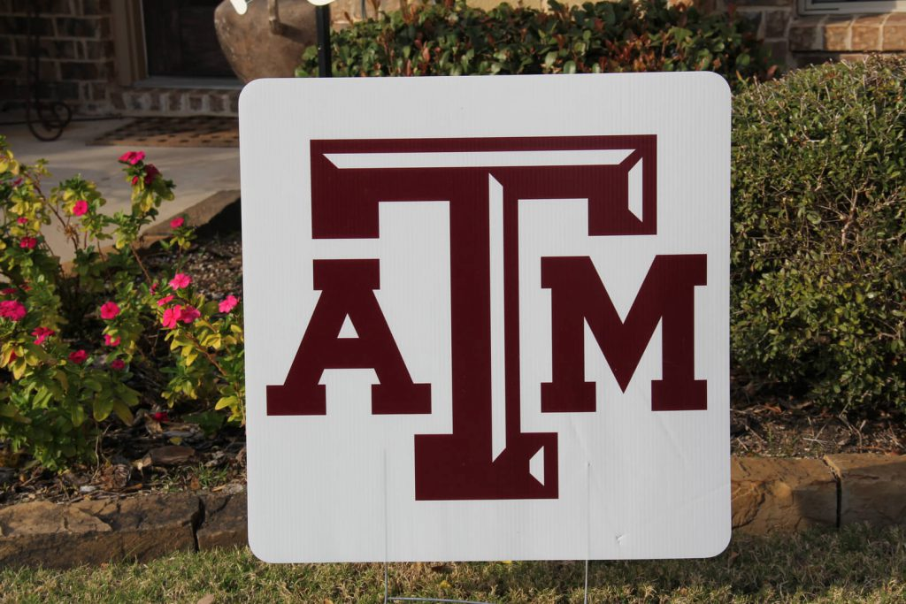 yard sign of Texas A-M