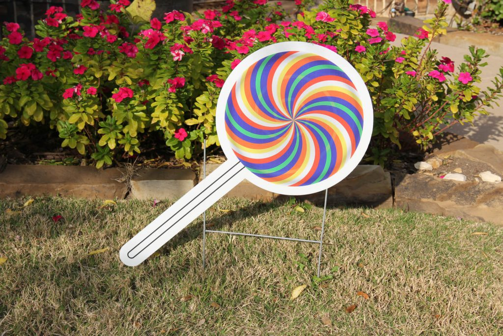 yard sign of lollipop