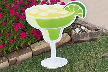 Plastic lawn graphic of a margarita