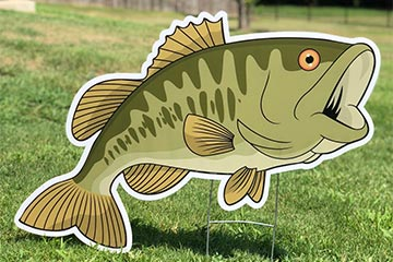Plastic lawn graphic of a largemouth bass