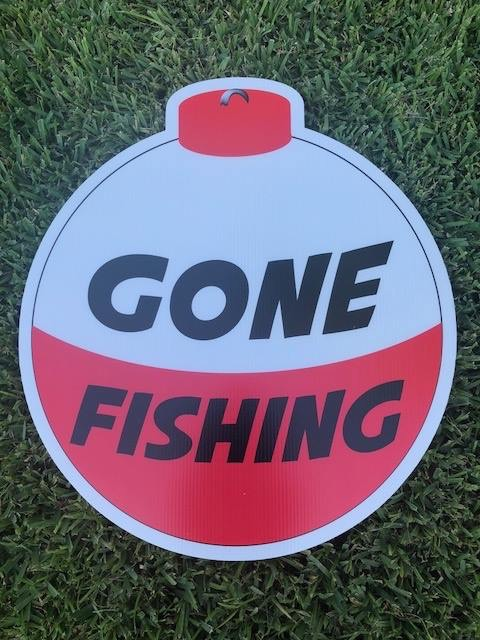 lawn graphic of gone fishing