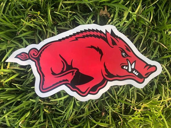 Lawn graphic of red boar