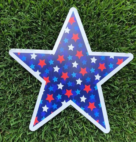 yard sign of star with stars