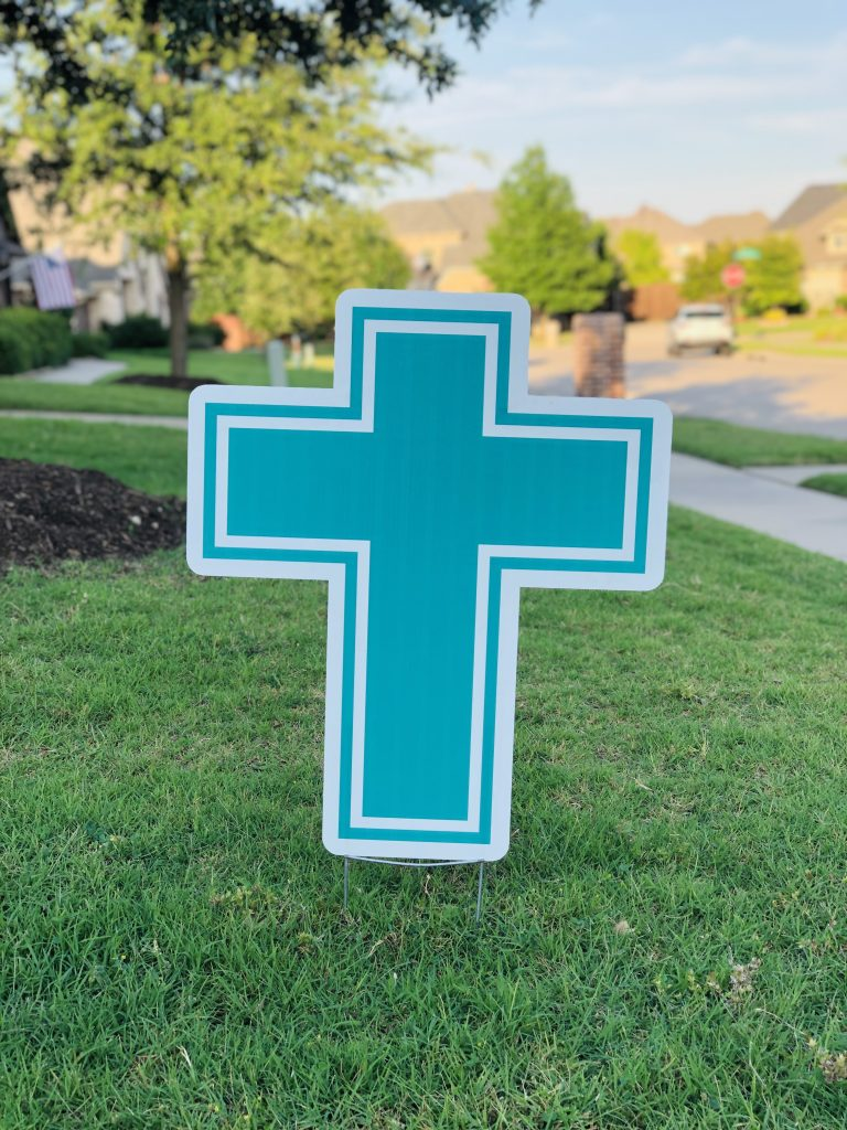 yard sign of cross