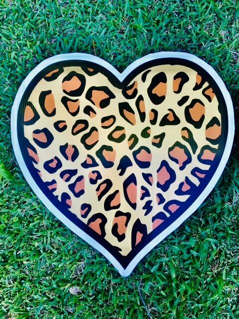 a leopard print heart