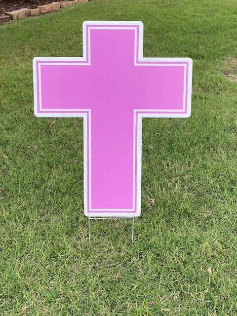 A pink cross