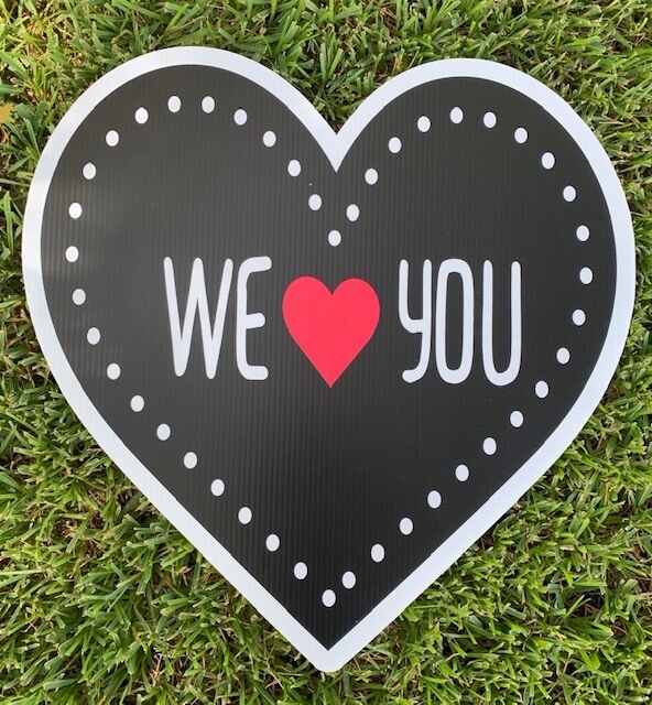 """a heart shape with the words """"we heart you"""""""