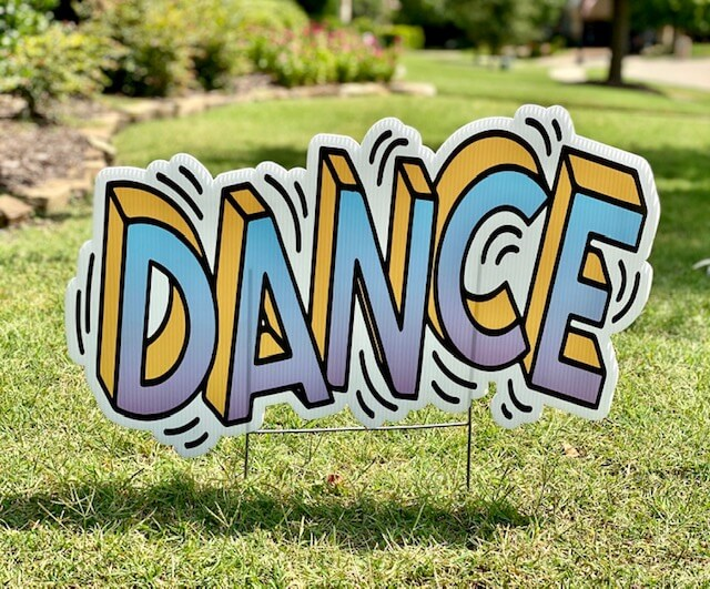 "The word ""Dance"" styled to look like it's shaking"