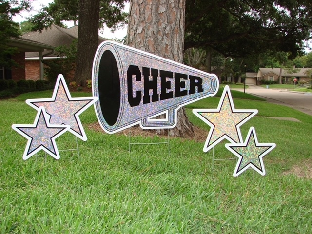 "a megaphone with the word ""cheer"" on it"