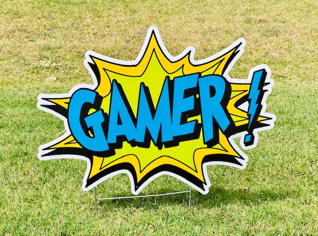 "The word ""GAMER!"" in a spalsh"