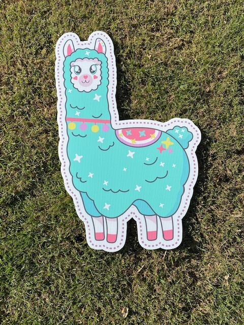 A blue llama