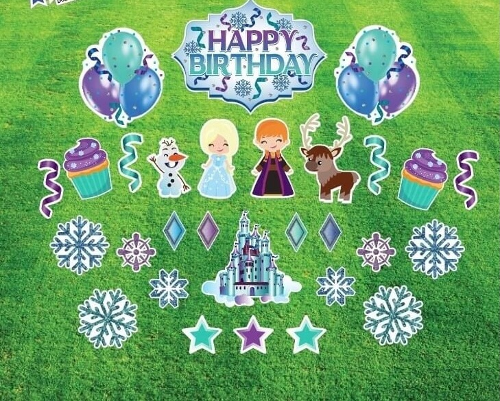 A collection of Frozen themed happy birthday graphics