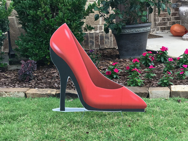 a red high heel shoe