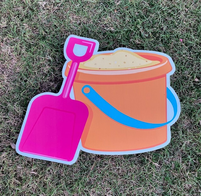A sand pail and shovel for the beach