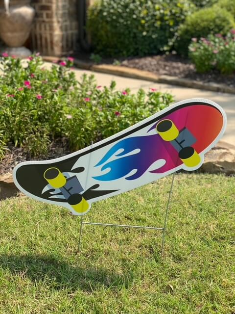 A skateboard with flame design