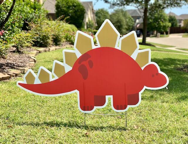A red stegasaurus
