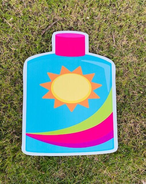 A bottle of sunscreen