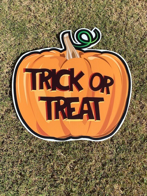 "A pumpkin with the words ""Trick or Treat"""