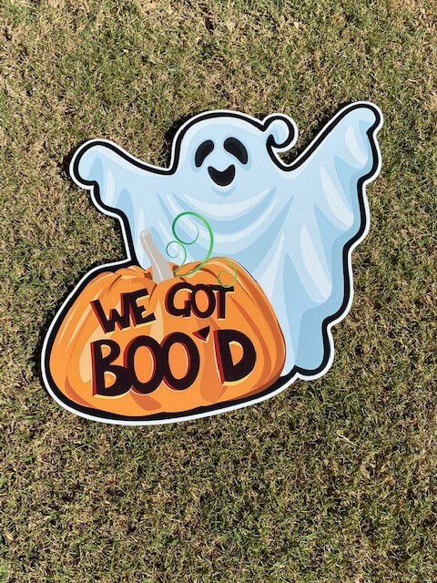 "A ghost and a pumpkin with the words ""We got boo'd"""