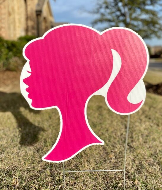 A pink Barbie silhouette