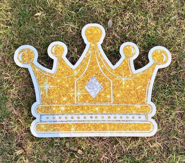 A gold sparkly crown