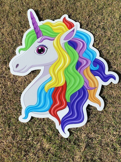 A unicorn with a rainbow mane
