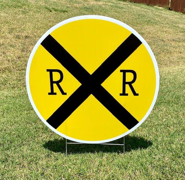 A railroad crossing sign