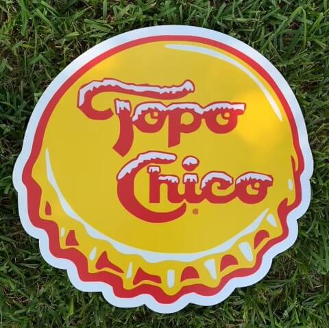 A Topo Chico bottle cap