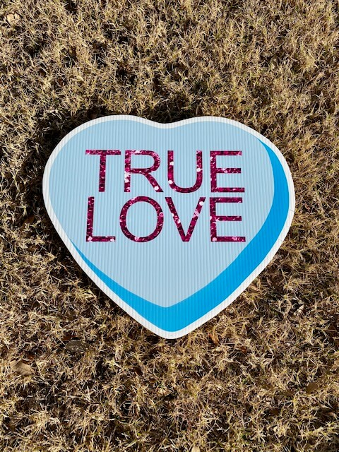 Blue Candy Heart with the words True Love