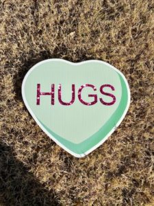 Green Candy Heart with the words Hugs