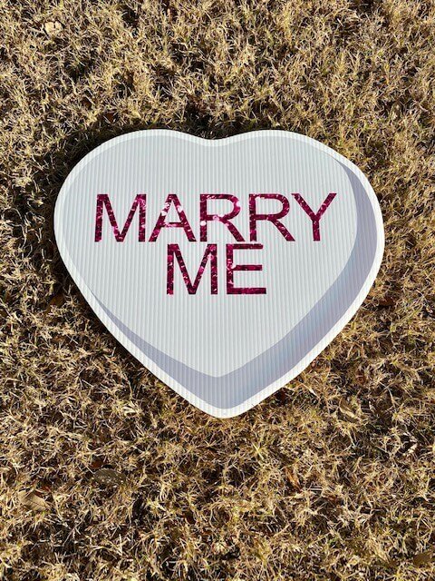 Gray Candy Heart with the words Marry Me