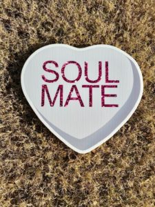 Gray Candy Heart with the words Soul Mate