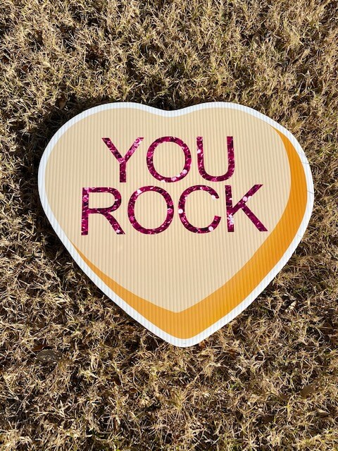 Yello Candy Heart with the words You Rock