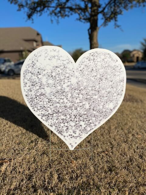 Silver sparkly heart