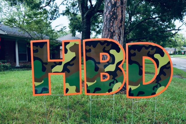 Woodland camoflage letters