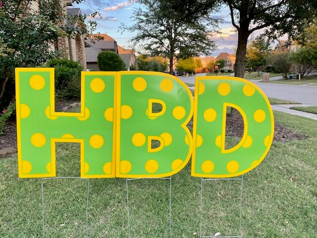 Lime green letters with yellow polka dots