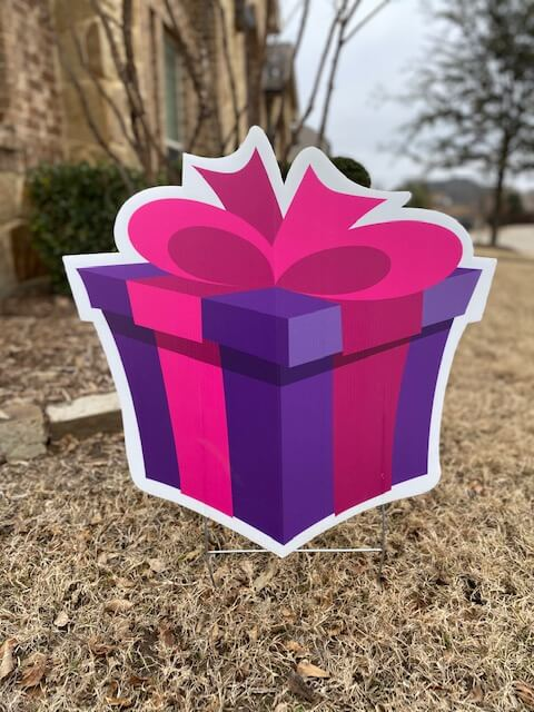 Purple gift box with hot pink bow