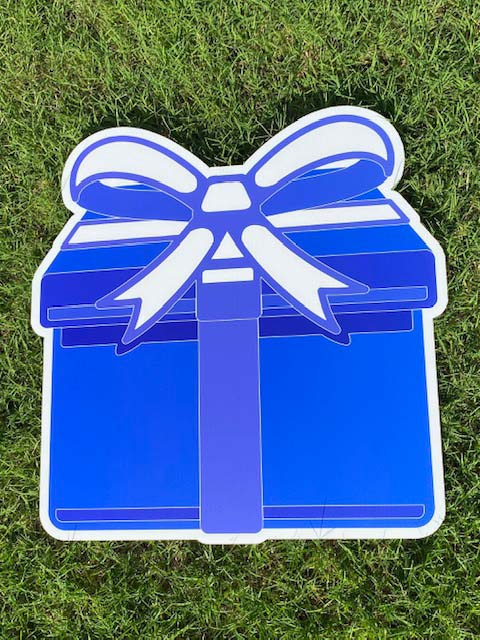 blue gift with blue/white bow