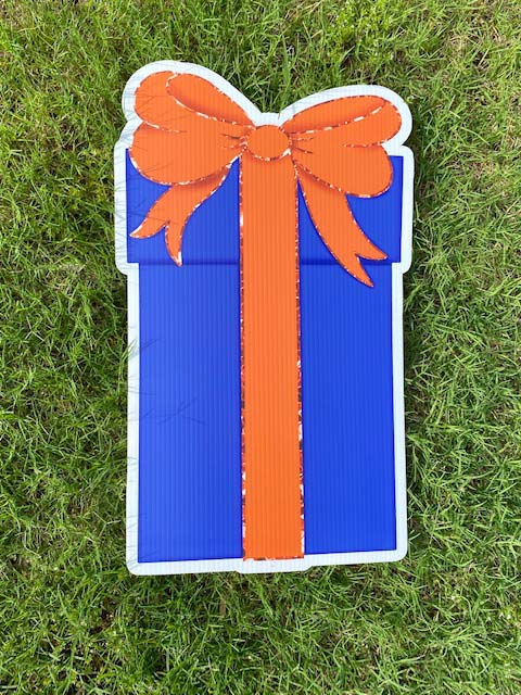 blue gift with orange bow
