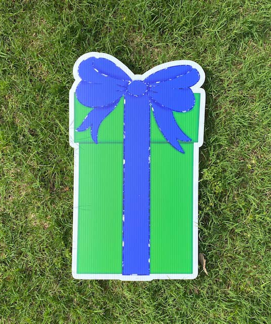 green box with blue bow